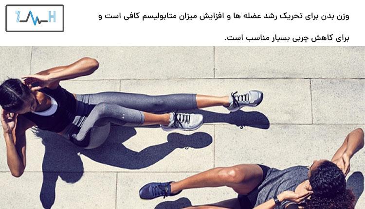 تمرین دو ورزشکار زن در خیابان با وزن بدن بدون دمبل