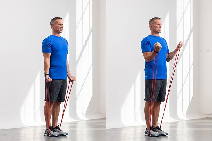 تمرین جلو بازو با کش مقاومتی در دو مرحله