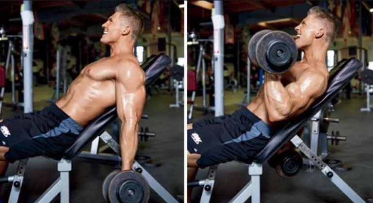 تمرین جلو بازو بر روی سطح شیبدار به صورت نشسته