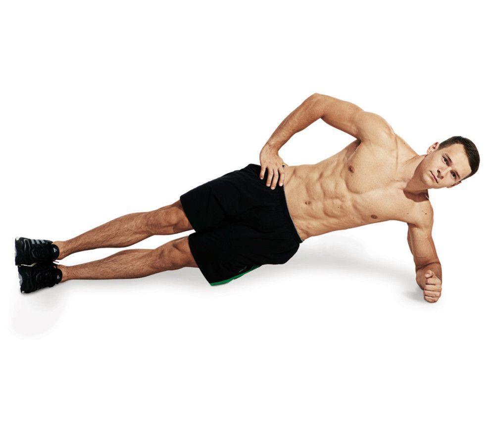 ورزشکار در حالت پلانک به پهلو