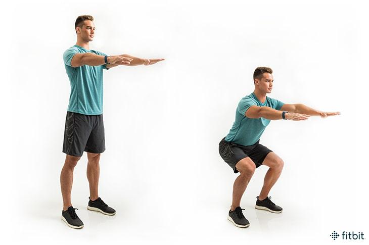 حرکت اسکوات مرد ورزشکار