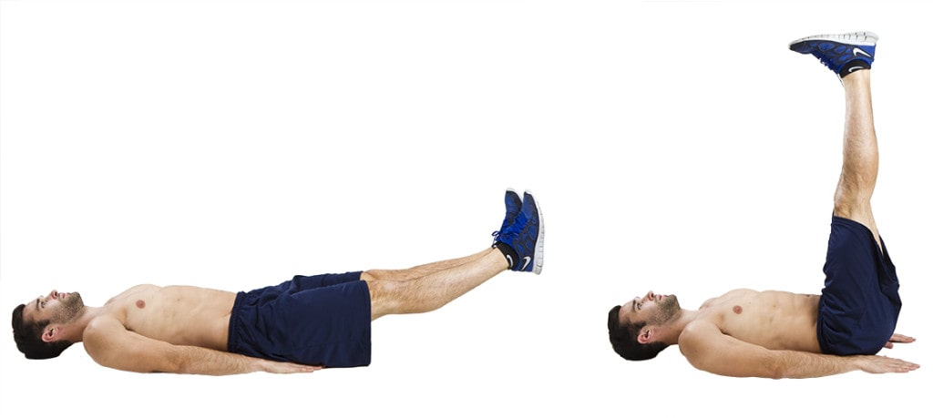 بالا بردن پاها به صورت چسبیده و خوابیده روی زمین