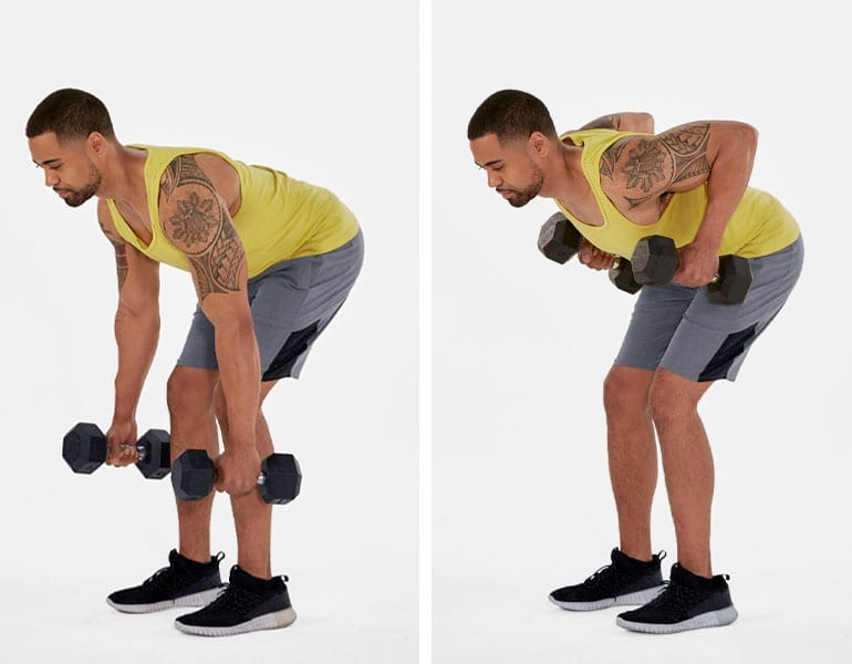 حرکت زیر بغل دمبل خم در دو مرحله