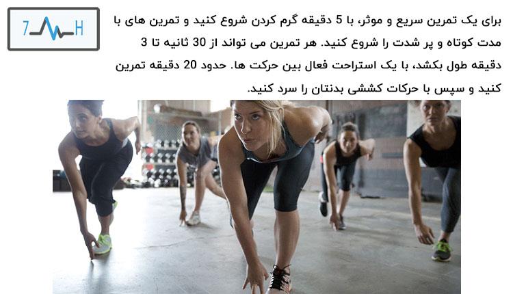 ورزشکاران در حال انجام تمرینات اینتروال به صورت گروهی