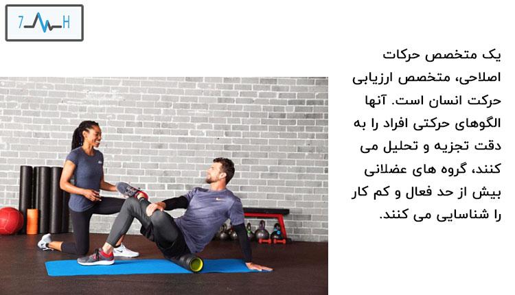 متخصص حرکات اصلاحی در حال تمرین دادن به ورزشکار